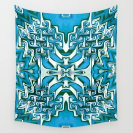 Blue and White Spiral Bends Wall Tapestry