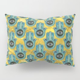 Decorative Hamsa Hand pattern on gold Pillow Sham