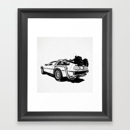 DeLorean / BW Framed Art Print