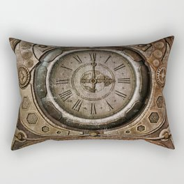 Brown Grunge Vintage Steampunk Clock Rectangular Pillow