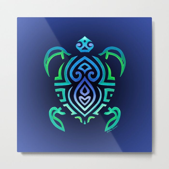 Tribal Turtle Ombre Background Metal Print