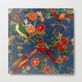 Vintage & Shabby Chic - Night Tropical Bird Garden Metal Print