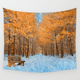 Burning Ice Forest Trail Wall Tapestry