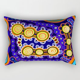 Authentic Aboriginal Art - Yugarabul Gathering Rectangular Pillow