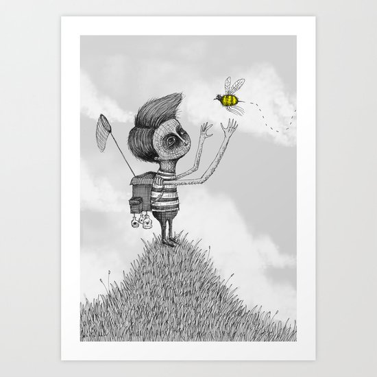 'The Bug Collector' (Colour Option) Art Print