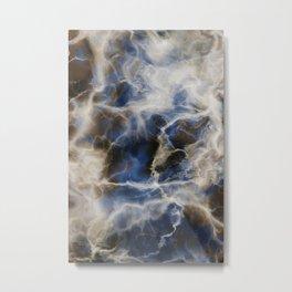 Navy Marble Metal Print