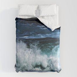 Dark Blue Waves Comforters