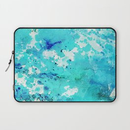 Abstract modern teal blue watercolor paint pattern Laptop Sleeve
