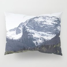 Winter and Spring - green trees and snowy mountains Pillow Sham