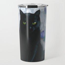 Black Cat with Bellflowers Travel Mug