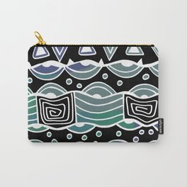 Wavy Tribal Lines with Shapes - Green Blue Black - Doodle Drawing Carry-All Pouch