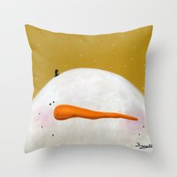 caleb troy Throw Pillows featuring Peeking Snowman Caleb by BriannasArtwork