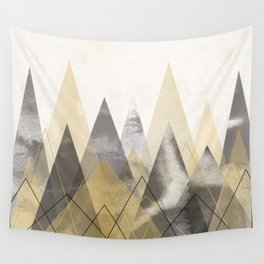 Black and Gold Mountains Wall Tapestry