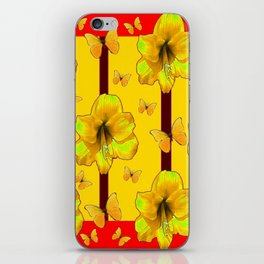 """""""FOR THE LOVE OF BUTTERFLIES"""" RED-YELLOW ART iPhone Skin"""