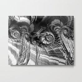 Silver Fractal Ammonite Spaceships Metal Print