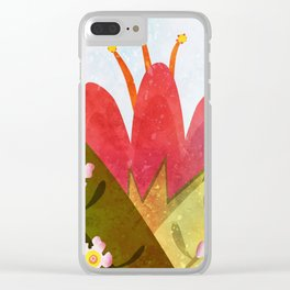 Giant red flower Clear iPhone Case