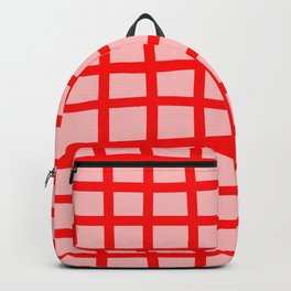 Abstract Plaid red Backpack