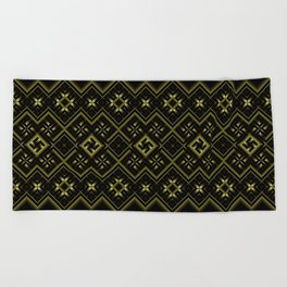 Solar signs. Ancient ornament. Sacred geometry Beach Towel
