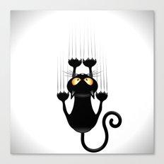 Black Cat Cartoon Scratching Wall Canvas Print