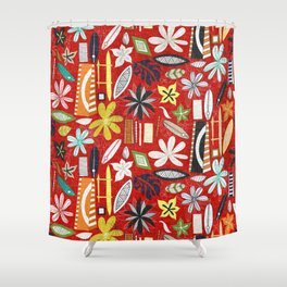beachy red Shower Curtain