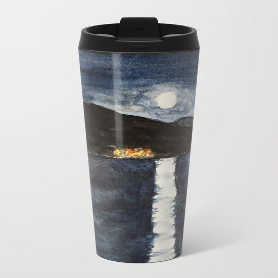 full moon by the sea Metal Travel Mug
