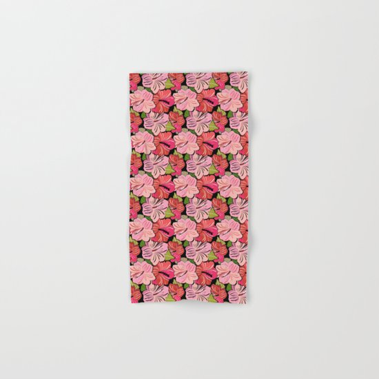 Pink Hibiscus Floral Pattern Hand & Bath Towel