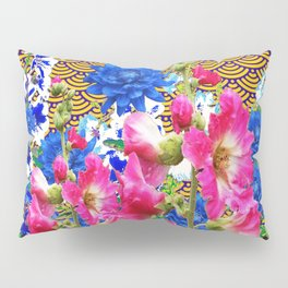 Abstracted Blue & Pink Flowers on Oriental Patterns Pillow Sham