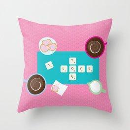 Scrabblove Throw Pillow
