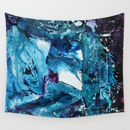 Faces in blue Wall Tapestry