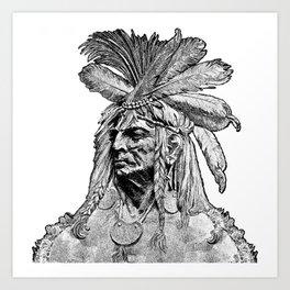 Chief / Vintage illustration redrawn and repurposed Art Print