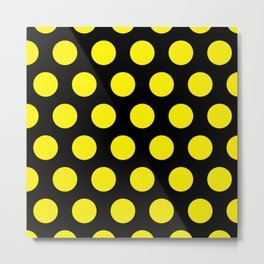 Yellow Circles on Black Background Metal Print