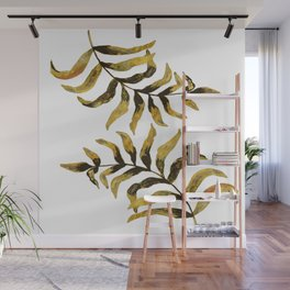 Gold Exotic Palm Leaves - Tropical Design Wall Mural