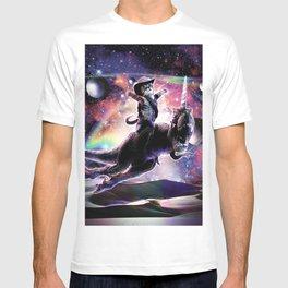 Galaxy Cat On Dinosaur Unicorn In Space T-shirt