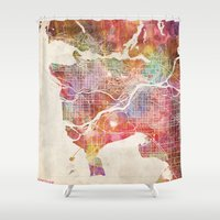 vancouver Shower Curtains featuring Vancouver map by Map Map Maps
