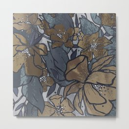 Vintage Flowerscape - Blue Denim Metal Print