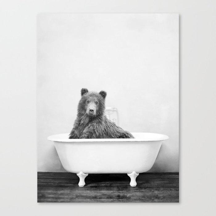 Brown Bear Bathtub Canvas Print