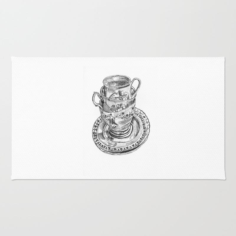 Stacked Tea Cups Rug by Rachelzaagman RUG903498