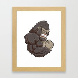Gorilla At The Gym | Fitness Training Muscles Framed Art Print