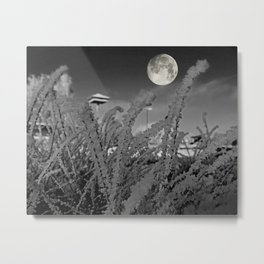 Snow crystals with moon Metal Print