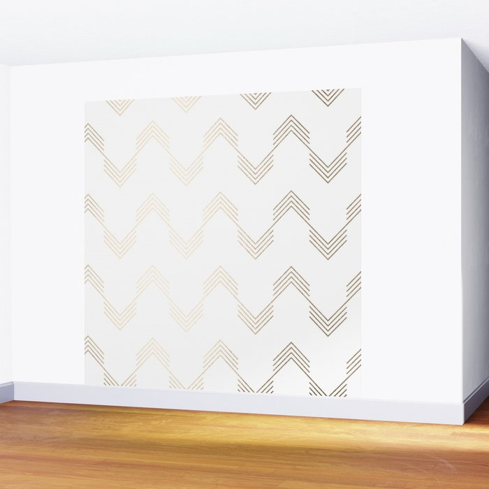 Simply Deconstructed Chevron White Gold Sands on White Wall Mural