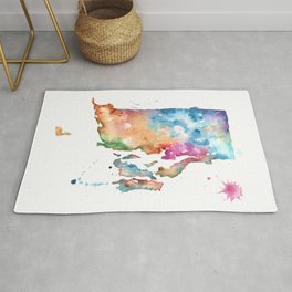 Rhode Island Watercolor Map - State Map Art - Watercolor Maps Rug