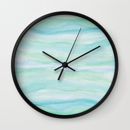 Blue Green Watercolor Layers Wall Clock