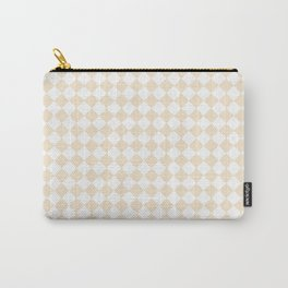 Small Diamonds - White and Champagne Orange Carry-All Pouch