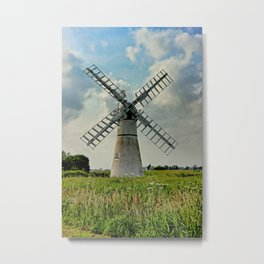 Thurne Dyke Drainage Wind Mill Metal Print