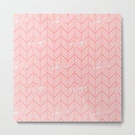 Coral Pink Chevron Floral Metal Print