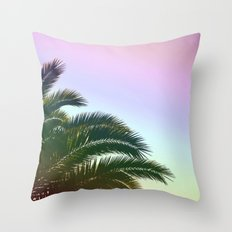 Palm Leaves  - Tropical Sky - Chilling Time Throw Pillow