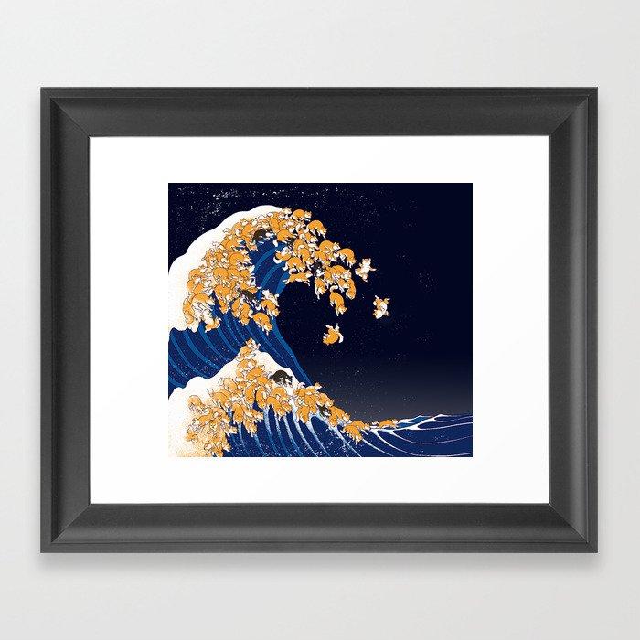 Shiba Inu The Great Wave in Night Gerahmter Kunstdruck