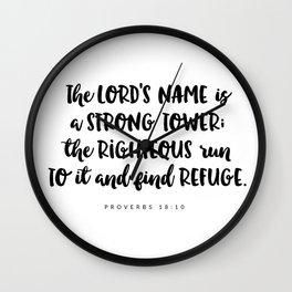 Proverbs 18:10 - Bible Verse Wall Clock