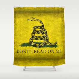 Gadsden Flag, Don't Tread On Me in Vintage Grunge Shower Curtain