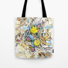 ground beneath my feet in spring: coltsfoot, dry leaves, grass Tote Bag